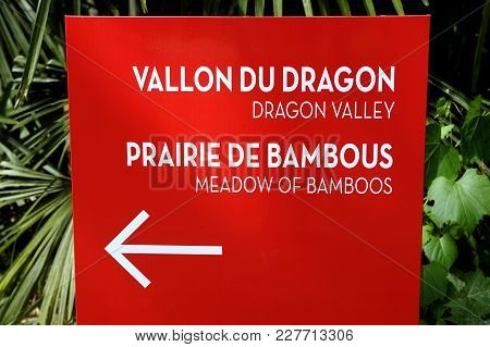 Arrow Indicating The Direction Of The Visit In The Park Of The Bamboo Plantation Of Anduze In The Fr