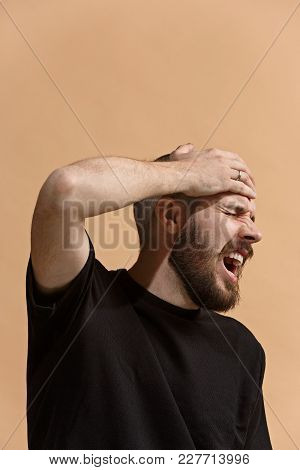 Man Having Headache. Profile On Pastel Background. Business Man Standing With Pain Isolated On Trend