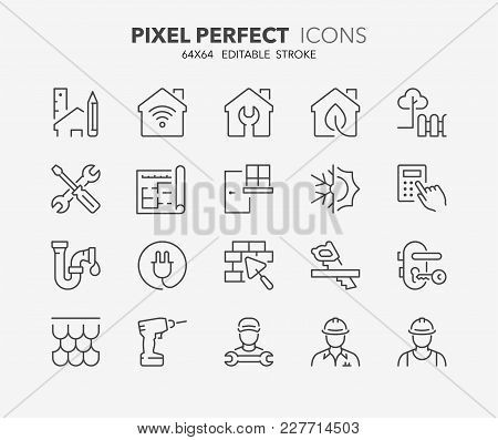 Thin Line Icons Set Of Renovation, Improvement And Repair. Outline Symbol Collection. Editable Vecto