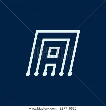 Letter A. Font Maze Italic, Vector Geometric Alphabet On Dark Background.