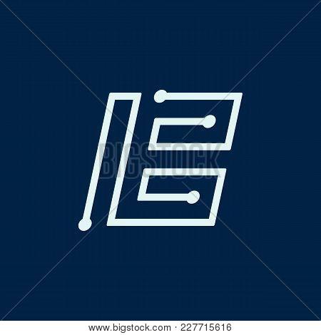 Letter B. Font Maze Italic, Vector Geometric Alphabet On Dark Background.