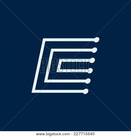 Letter C. Font Maze Italic, Vector Geometric Alphabet On Dark Background.