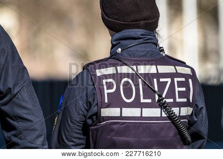 Federal Police Officer Woman Protecting The City In Germany