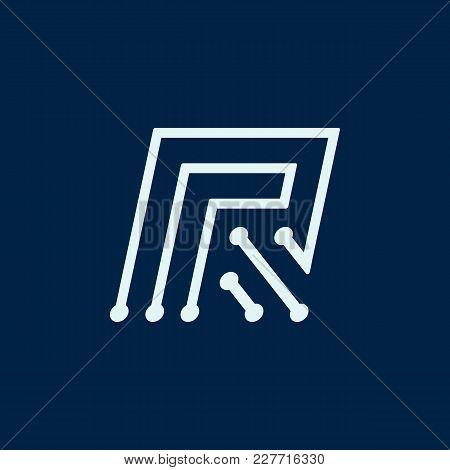Letter R. Font Maze Italic, Vector Geometric Alphabet On Dark Background.