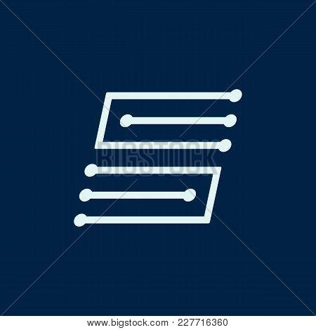 Letter S. Font Maze Italic, Vector Geometric Alphabet On Dark Background.