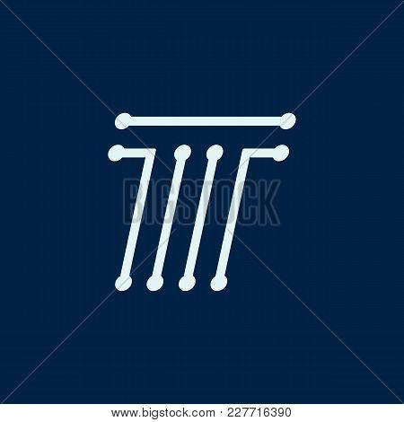 Letter T. Font Maze Italic, Vector Geometric Alphabet On Dark Background.
