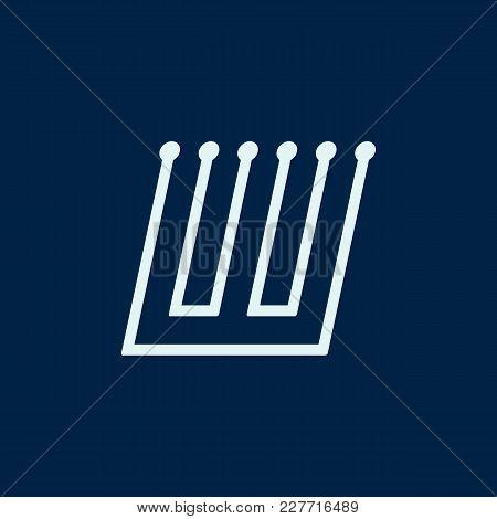 Letter W. Font Maze Italic, Vector Geometric Alphabet On Dark Background.