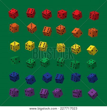 Rainbow Dice With Black Points On Green Background