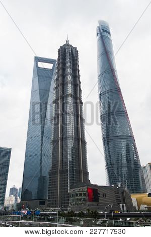 Skyscrapers Of The Pudong Area With Shops And Malls. Shanghai, China.