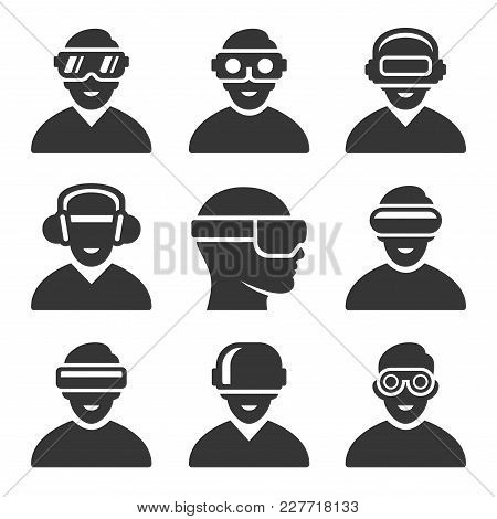 Virtual Reality Vr Headset Icons Set. Vector Illustration