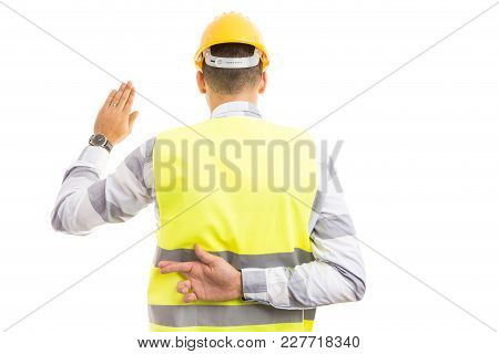 Cunning Builder Making Fake Oath Or Vow Hesture.