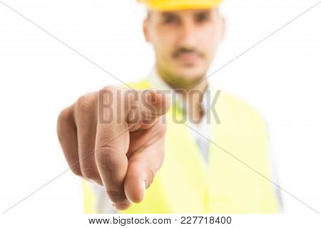Building Contractor Pointing Finger At Camera.