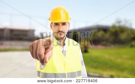 Workman Or Constructor Pointing Finger At Camera.