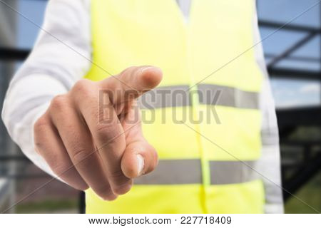 Engineer Touching Invisible Transparent Screen Display With Index Finger.
