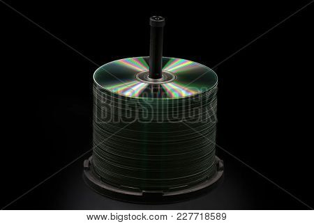 Blank Dvd, Cd Discs Isolated On Black Background