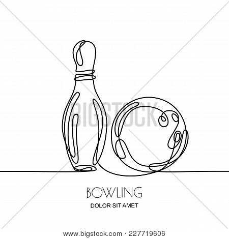 Continuous Line Drawing. Vector Linear Black Illustration Of Bowling Ball And Pin, Isolated On White