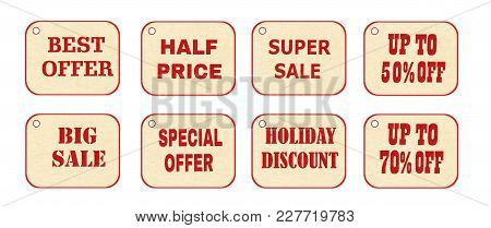 Set Of Price Tags, Labels. Vector Illustration Of Design Elements Of Promotion. Promotional Offers,