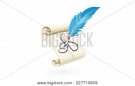 Feather Write Letter At Scroll Paper. Vintage Calligraphy Graphic Art Tool. Eps10 Vector Illustratio