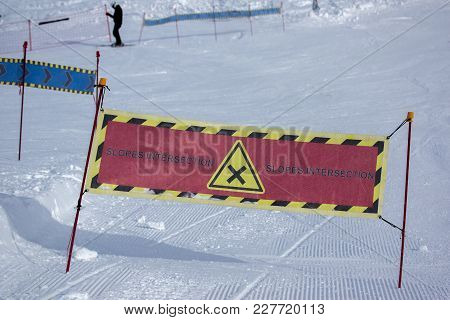 Signs At Ski Resorts. Intersection Of Trails. Horizontal