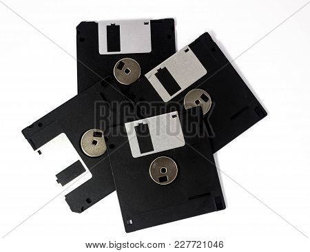 Diskettes On White Background