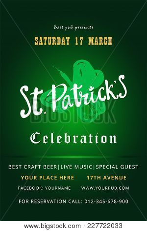 Happy St. Patrick S Day Holiday Poster With Hand Drawn Lettering And Brush Painted Clover Symbol. Ir