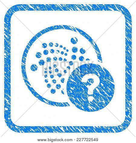 Iota State Query Rubber Seal Stamp Watermark. Icon Vector Symbol With Grunge Design And Dirty Textur