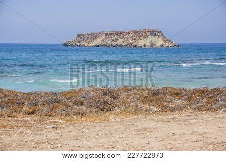 Geronisos Island. Cape Drepanon. Cyprus Landscape. Mediterranean Sea