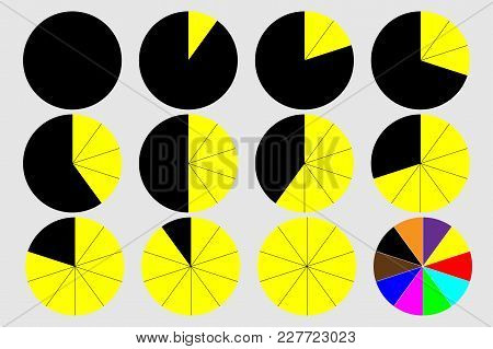 Pie Graph Circle Percentage Chart 0 10 20 30 40 50 60 70 80 90 100 % Set Vector Illustration - Black