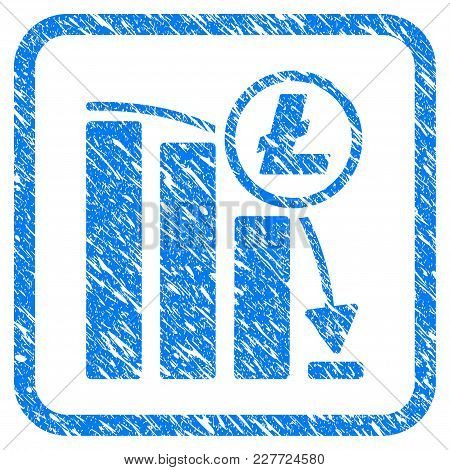 Litecoin Panic Falling Chart Rubber Seal Stamp Imitation. Icon Vector Symbol With Grunge Design And