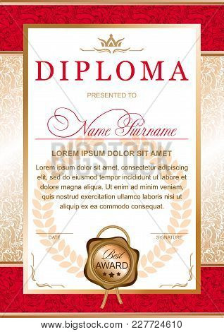 Diploma In The Official, Solemn, Chic, Royal Style In Red And Gold Colors, With The Image Of The Cro