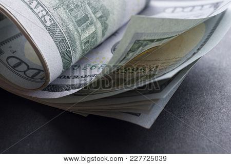 Money American Dollar Bills. Business, Finance, Investment, Saving And Corruption Concept