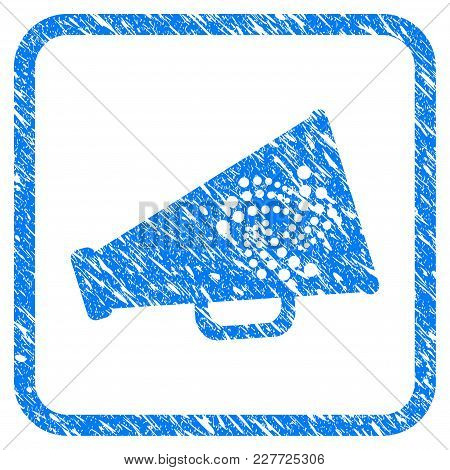 Iota Megaphone Rubber Seal Stamp Watermark. Icon Vector Symbol With Grunge Design And Corrosion Text
