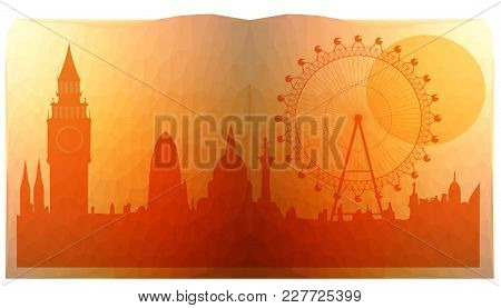 London City Skyline  Look Like In Open Book - Triangulated