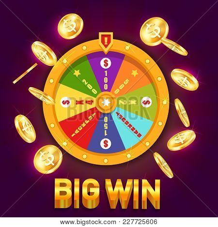 Wheel Of Fortune With Falling Golden Coins And Dollar Signs, Stars. Casino Spinning Wheel With Point