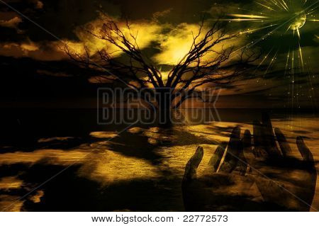Praying Gesture in surreal landscpae