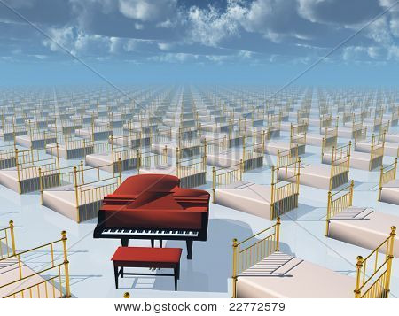 Piano and beds