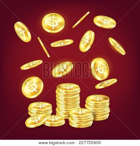 Stack Of Golden Shiny Coins Or Tower Made Of Metal Dollar Cash With Money Falling On It. Wealth And