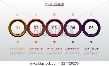 Step By Step Infographic Template. Presentation Slide With 5 Numbers Can Be Used For Workflow Layout