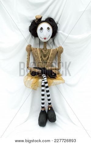 Creepy Steampunk Rag Doll Posed In A Sitting, Kneeling Position Viewed From Above And Behind. Lifesi