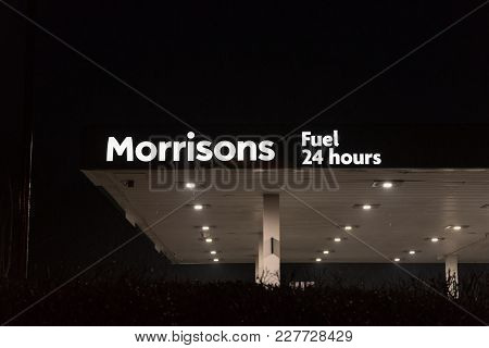 Northampton Uk January 21 2018: Morrisons Superstore Gas Station Logo Sign Exterior At Night.