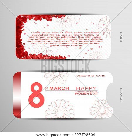Greeting Card With Case Vector Set For Happy International Women's Day On The White Background With