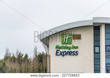 Northampton Uk January 23 2018: Holiday Inn Express Hotel Logo Sign In Grange Park Industrial.