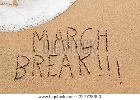 high angle view of the text march break written in the wet sand of the seashore, in a quiet beach, with some seawater foam on top