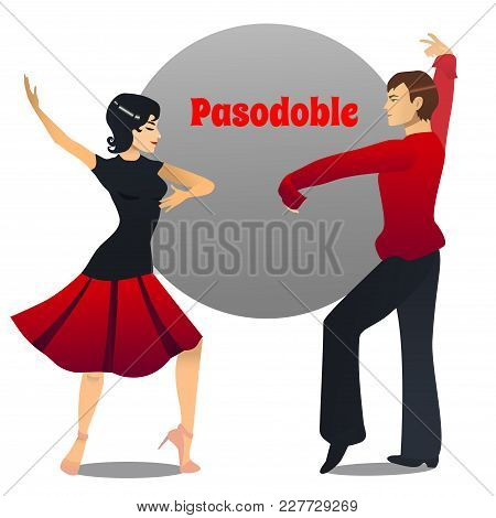 Pasodoble Dancers. Dancing Couple In Cartoon Style For Fliers Posters Banners Prints Of Dance School
