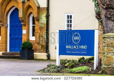 Northampton Uk January 13 2018: Wallace Hind Recruitment Solutions Logo Sign.