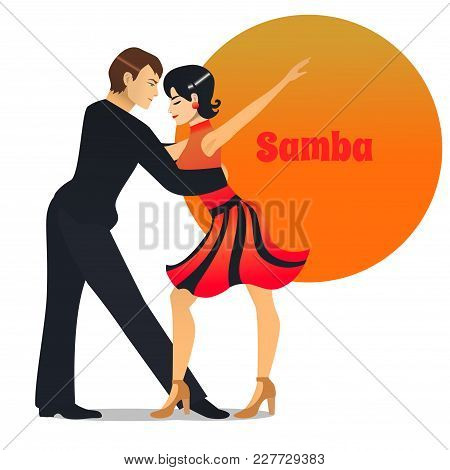Samba Dancers. Dancing Couple In Cartoon Style For Fliers Posters Banners Prints Of Dance School And