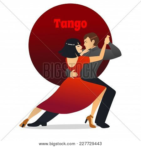 Tango Dancers. Dancing Couple In Cartoon Style For Fliers Posters Banners Prints Of Dance School And