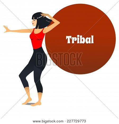 Tribal Dancer. Dancing Girl In Cartoon Style For Fliers Posters Banners Prints Of Dance School And S