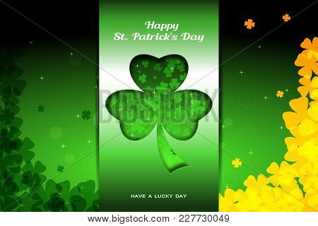 Vector Wide Abstract Green Background For Happy St. Patrick's Day With Gradient Stripe At The Center