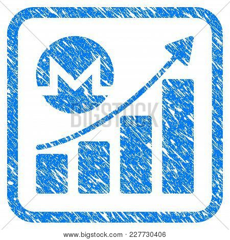 Monero Growing Chart Rubber Seal Stamp Watermark. Icon Vector Symbol With Grunge Design And Unclean